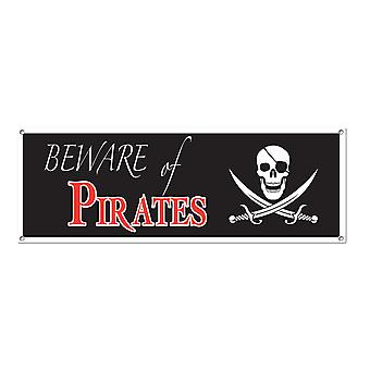 Beware Of Pirates Sign Banner 5' x 21""