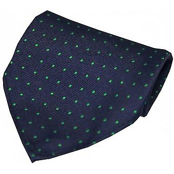 David Van Hagen Pin Dot Silk Handkerchief - Navy/Green