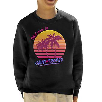 Welcome To Saint Tropez Retro 80s Kid's Sweatshirt