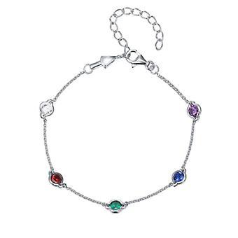 925 Sterling Silver Droplet Bezel Chain Bracelet Coloured Stones