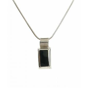 "Cavendish French Sterling Silver Rectangled Black Agate Pendant with 16 - 18"" Silver Chain"