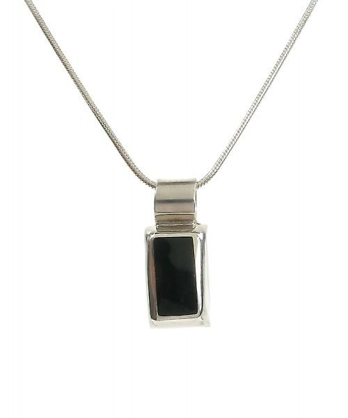 Cavendish francese Sterling Silver Ciondolo di agata nera Rectangled