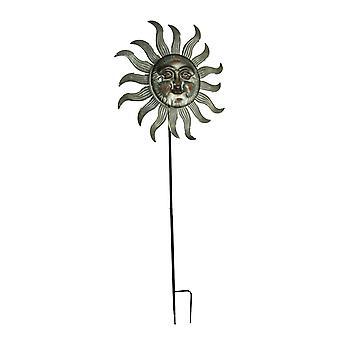 Metal Celestial Sun Wind Spinner Garden Stake