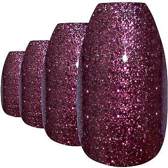 False nails by bling art red brown gel ballerina coffin fake long acrylic tips