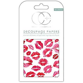 Craft Consortium Kisses For You Decoupage Papers (CCDECP237)