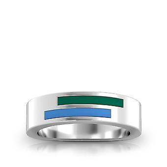Tulane University - Asymmetric Enamel Ring In Green And Light Sky Blue