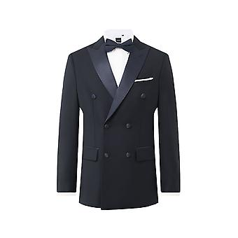 Dobell Mens Navy Tuxedo Giacca Regolare Fit Peak Lapel Double Breasted