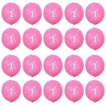 TRIXES 1sT Cumpleaños Globos para Bebé Niña 20 Piezas Color Rosa
