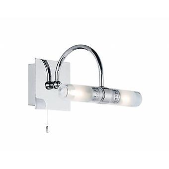 2 Light Bathroom Wall Light Frosted Glass, Chrome With Clear Ip44