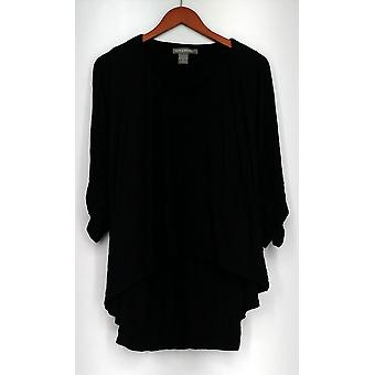 Kate & Mallory Top Soft Knit V-Neck Dolman Sleeved Top Black Womens A421663
