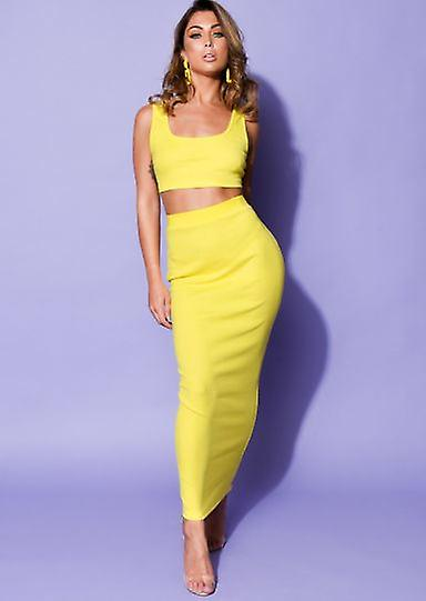 Ribbed Knitted Crop Top And Midi Skirt Co Ord Yellow