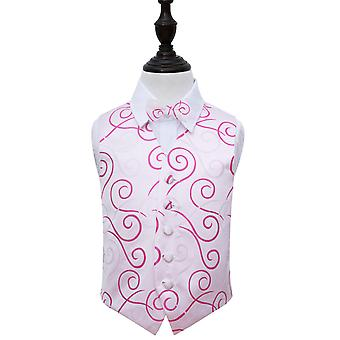Boy's White & Hot Pink Scroll Wedding Waistcoat & Bow Tie Set