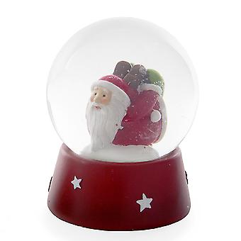 Traditional Look Festive Snow Globe with Exercising Father Christmas Laying Figure