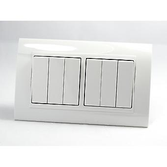 I LumoS AS Luxury White Plastic Arc Double Frame 6 Gang 1 Way Rocker Light Switches