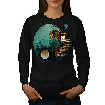 Planet Space City Fantasy Women Black Sweatshirt | Wellcoda