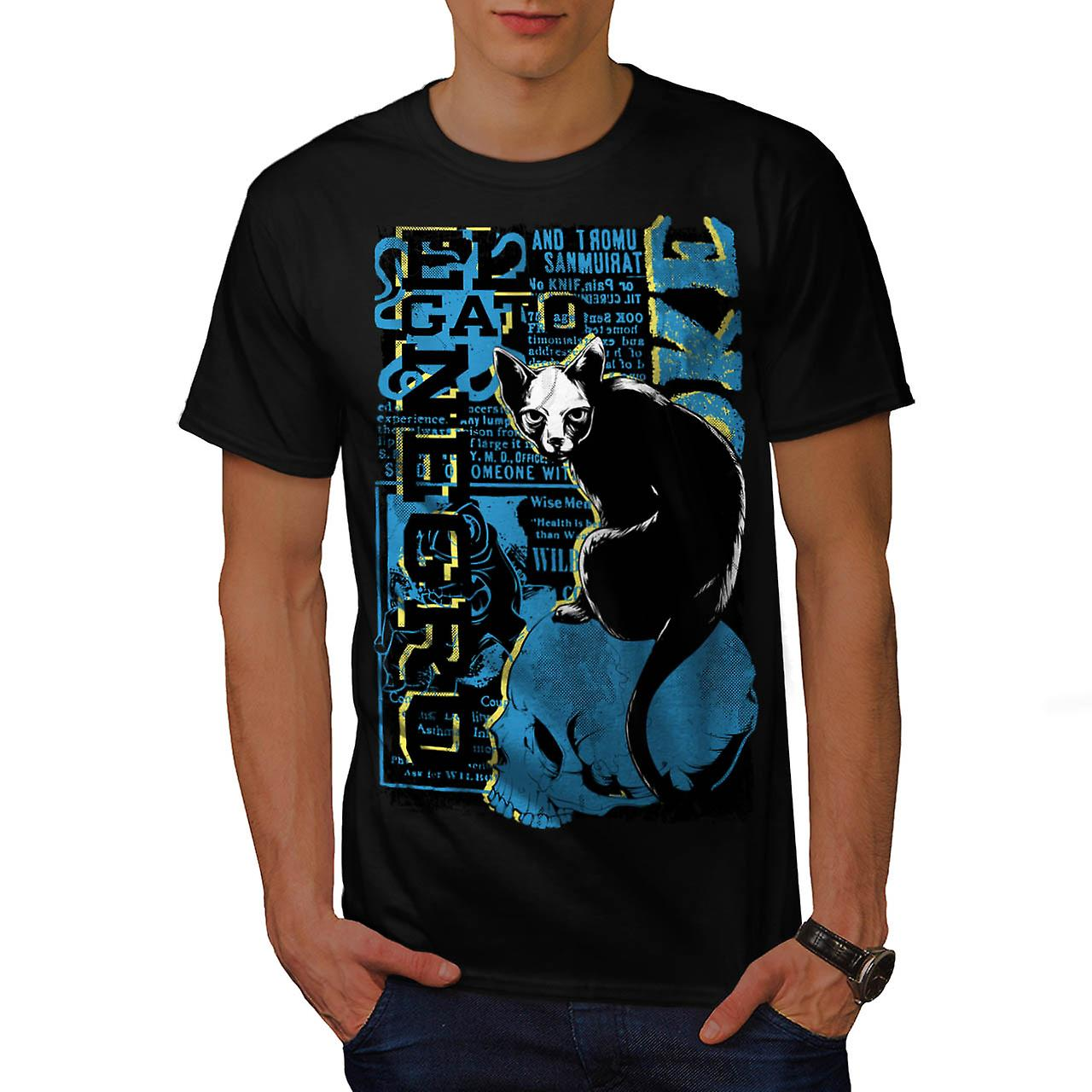 Gato Negro Black Cat Witch Pet Men Black T-shirt | Wellcoda