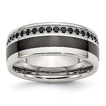Stainless Steel Polished Black Ceramic Inlay CZ 9.00mm Band Ring - Size 11