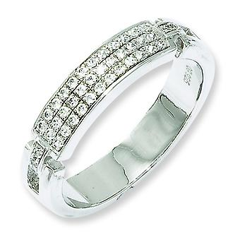 Sterling Silver Rhodium-plated and Cubic Zirconia Fancy Ring - Ring Size: 6 to 8