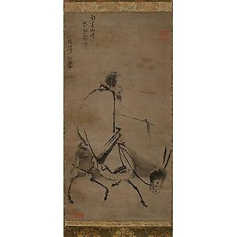Chan master riding a mule Poster Print by Unidentified Artist Chinese active mid-13th century (18 x 24)
