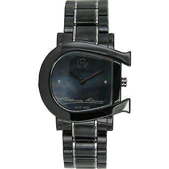 Aigner ladies watch wristwatch Genoa due Black ceramic silver A31644