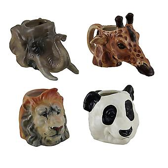 Set di 4 testa animale decorativo stampato ceramica tazze 14 Oz.
