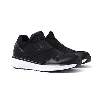 Armani Jeans Black Strap Pull-On Trainers