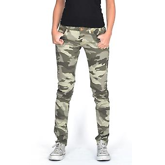 High Rise Slim Camouflage Trousers - Light Green
