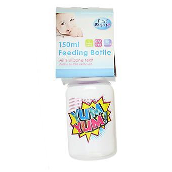 First Steps Comic Pop Art Slogan Baby Feeding Bottle & Pink Lid 150ml - Yum Yum!
