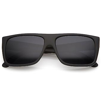 Men's Rubberized Flat Top Wide Temple Square Sunglasses 57mm