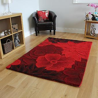 Red Carved Floral Wool Rug Essence