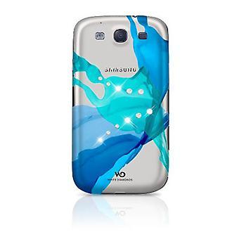Hvid diamanter Case for Samsung Galaxy S3 i9300 (blå væsker)