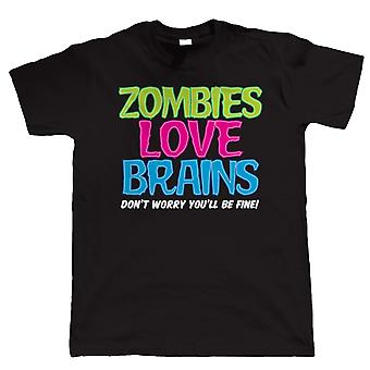 Zombies Love Brains, Mens T Shirt
