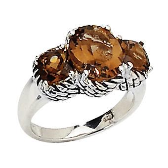 Smokey Quartz Gemstone Three Stone Ring 4.88 Carat (ctw) in Sterling Silver