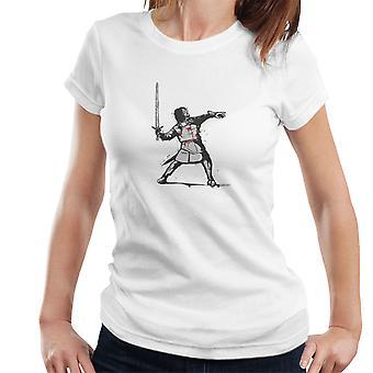 時計ジョンスノー ゲームの魂のバンクシーの怒りの花投げレディース t シャツ