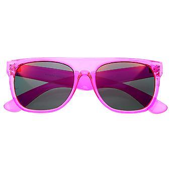 Occhiali da sole cerchiati di super trasparente cristallo Neon colore lente Revo FlatTop corno