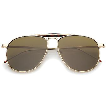 Oversize Metal Double Nose Bridge Ultra Slim Temple Super Flat Lens Aviator Sunglasses 57mm