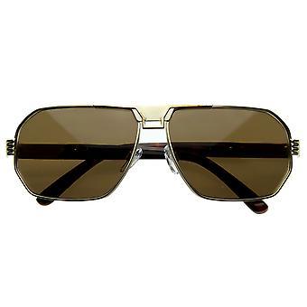 Optical Quality Eyewear Retro Design Metal Flat Top Sunglasses