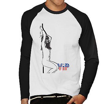 VIP nackt Pole Tänzerin Skizze Herren Baseball T-Shirt Langarm