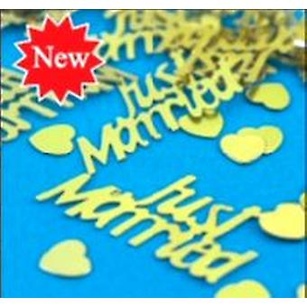 Confetti Just Married Gold Foil With Gold Hearts (1 x 14g bag )