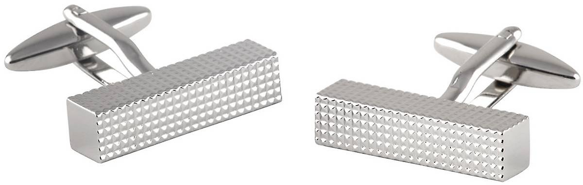 David Van Hagen Ribbed Bar Cufflinks - Silver