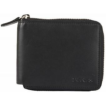 Dents Smooth Leather Zip Around Wallet - Black
