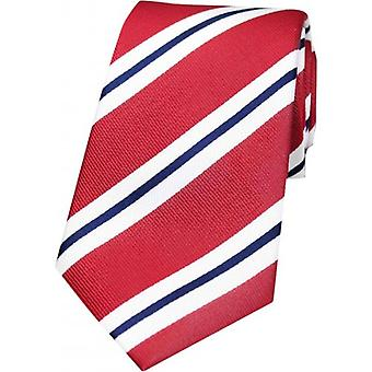 David Van Hagen Thin Striped Woven Silk Tie - Red/White/Navy