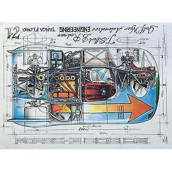 Sebastien Sauvadet Diagram Of A Porsche 908 03 Targa Florio 71 Print By Sebastien Sauvadet