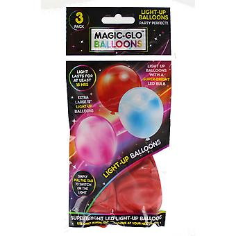 3 X Extra Large Magic-Glo Super Bright LED Glow Light Up Party Birthday Balloons