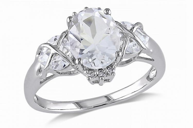 Affici Sterling Silver Kiss Ring 18ct White Gold Plated  ~ Trilogy of Diamond CZ Gems