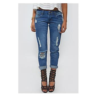 The Fashion Bible Low Rise Distressed Mom Jeans