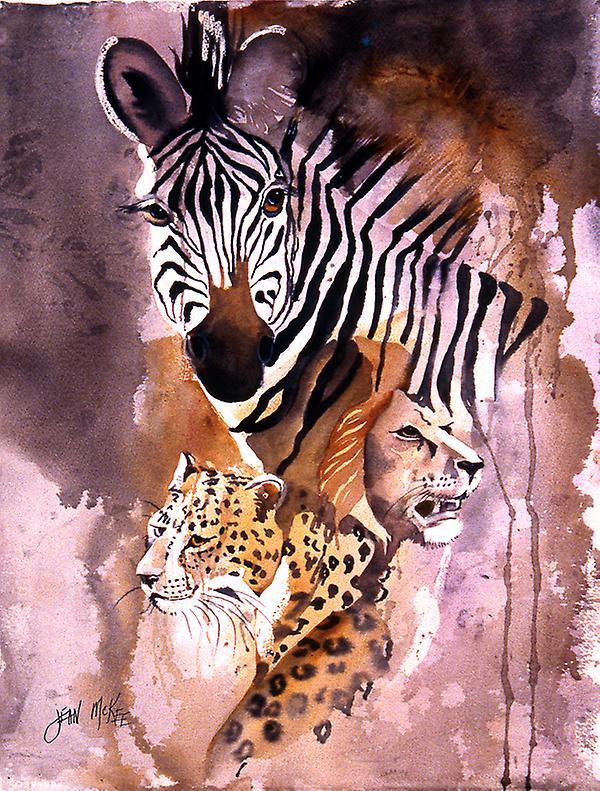 Carolines Treasures  JMK1194CHF Cheetah, Lion, and Zebra Flag Canvas House Taille