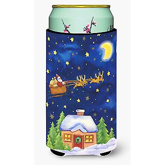 Christmas Santa Claus Across the Sky Tall Boy Beverage Insulator Hugger