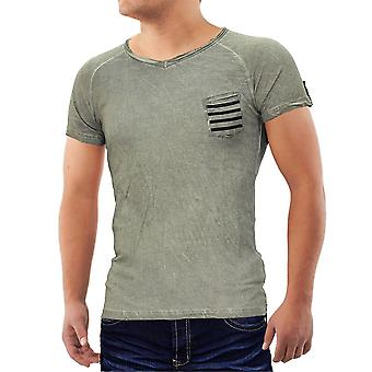Men's T-Shirt V neck Polo Sport clubwear T-shirt Figurbetont Aztec chest pocket