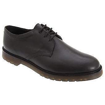 Grafters Mens Hi-Shine Smooth Leather Uniform Shoes With Air Cushioned Sole